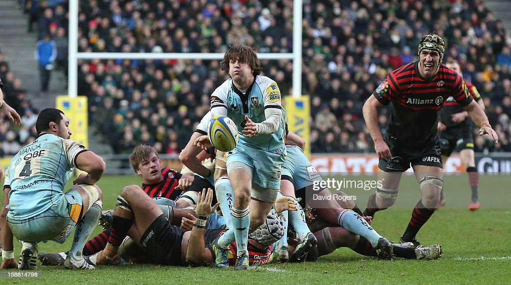 Lee Dickson of Northampton passes the ball during the Aviva Premiership match between Saracens and Northampton Saints at stadiumMK on December 30, 2012 in Milton Keynes, England.