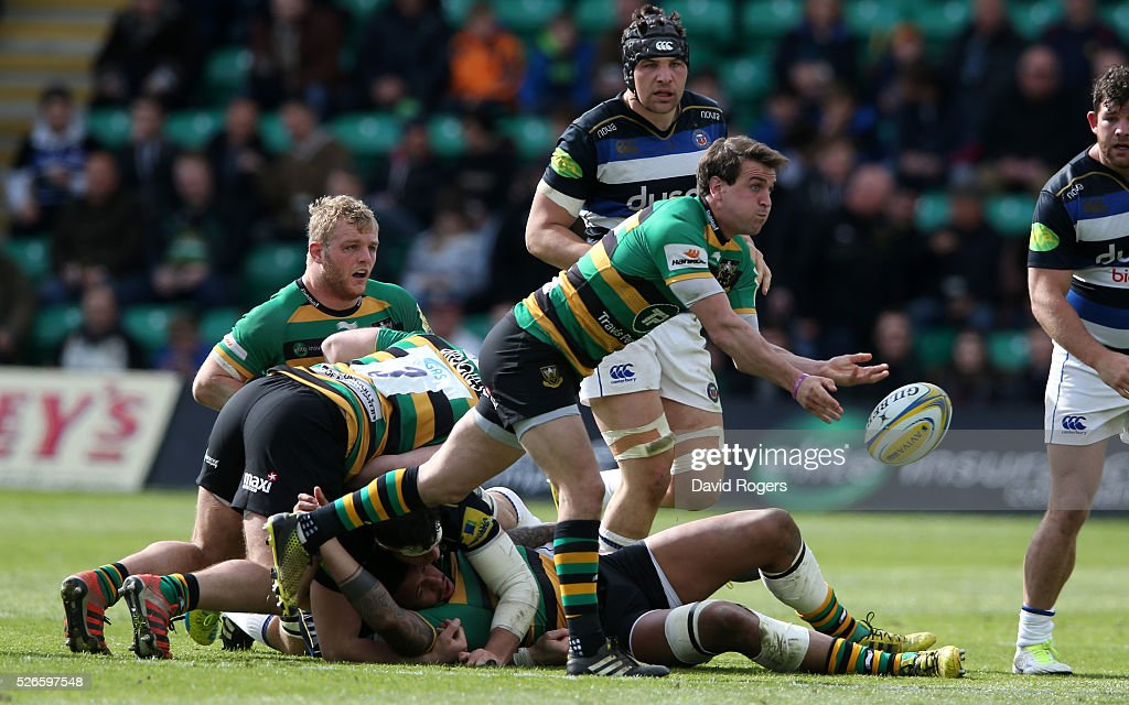<a gi-track='captionPersonalityLinkClicked' href=/galleries/search?phrase=Lee+Dickson&family=editorial&specificpeople=2284078 ng-click='$event.stopPropagation()'>Lee Dickson</a> of Northampton passes the ball during the Aviva Premiership match between Northampton Saints and Bath at Franklin's Gardens on April 30, 2016 in Northampton, England.