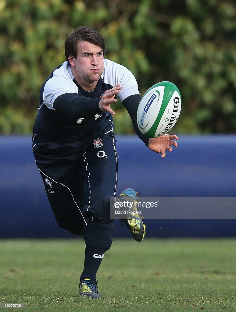 Lee Dickson passes the ball during the England training session at Pennyhill Park on February 5, 2013 in Bagshot, England.