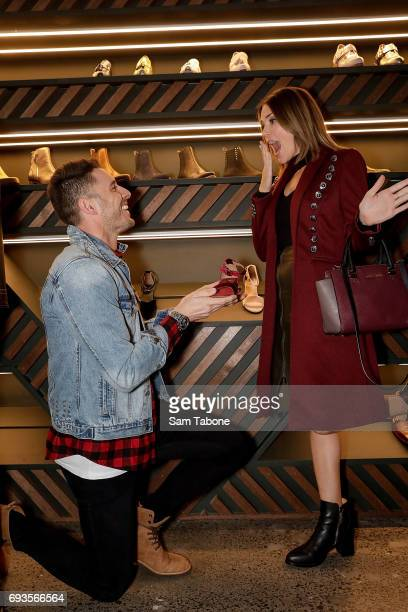 Lee Elliott and Georgia Love attends the Bared Footwear VIP Launch Party on June 7 2017 in Melbourne Australia