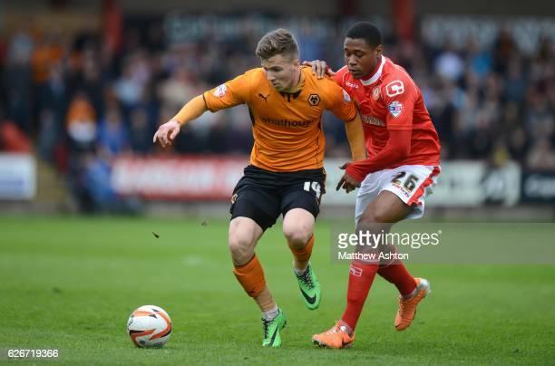Lee Evans of Wolverhampton Wanderers and Chuks Aneke of Crewe Alexandra