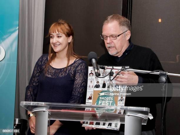 Lee Filipovski and John Anderson attend the 2017 Aspen Shortsfest Awards Dinner on April 9 2017 at Aspen Kitchen in Aspen Colorado
