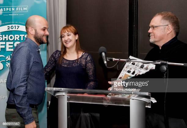 Lee Filipovski and John Anderson award Damien Ounouri with the 'Filmmakers Choice Award' at the 2017 Aspen Shortsfest Awards Dinner on April 9 2017...