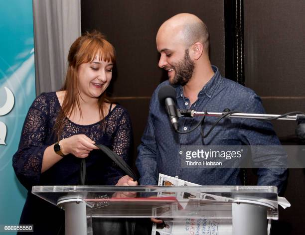 Lee Filipovski awards Damien Ounouri with the 'Filmmakers Choice Award' at the 2017 Aspen Shortsfest Awards Dinner on April 9 2017 at Aspen Kitchen...