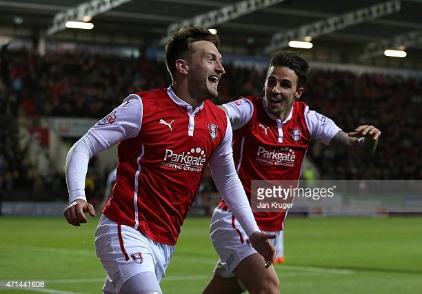 Lee Frecklington of Rotherham celebrates his goal with team mates Matt Derbyshire during the Sky Bet Championship match between Rotherham United and...