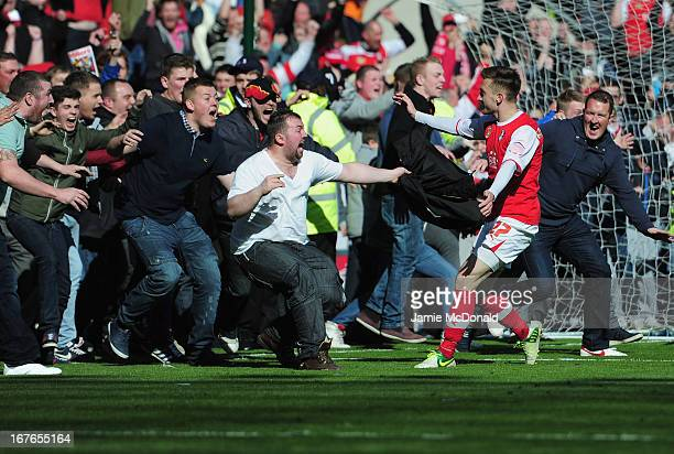 Lee Frecklington of Rotherham United celebrates his goal with the fans during the npower League Two match between Rotherham United and Aldershot Town...