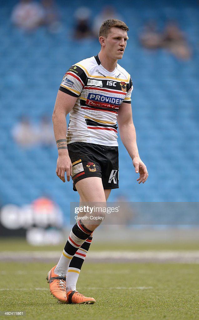 Lee Gaskell of Bradford Bulls during the Super League match between Huddersfield Giants and Bradford Bulls at Etihad Stadium on May 18, 2014 in Manchester, England.