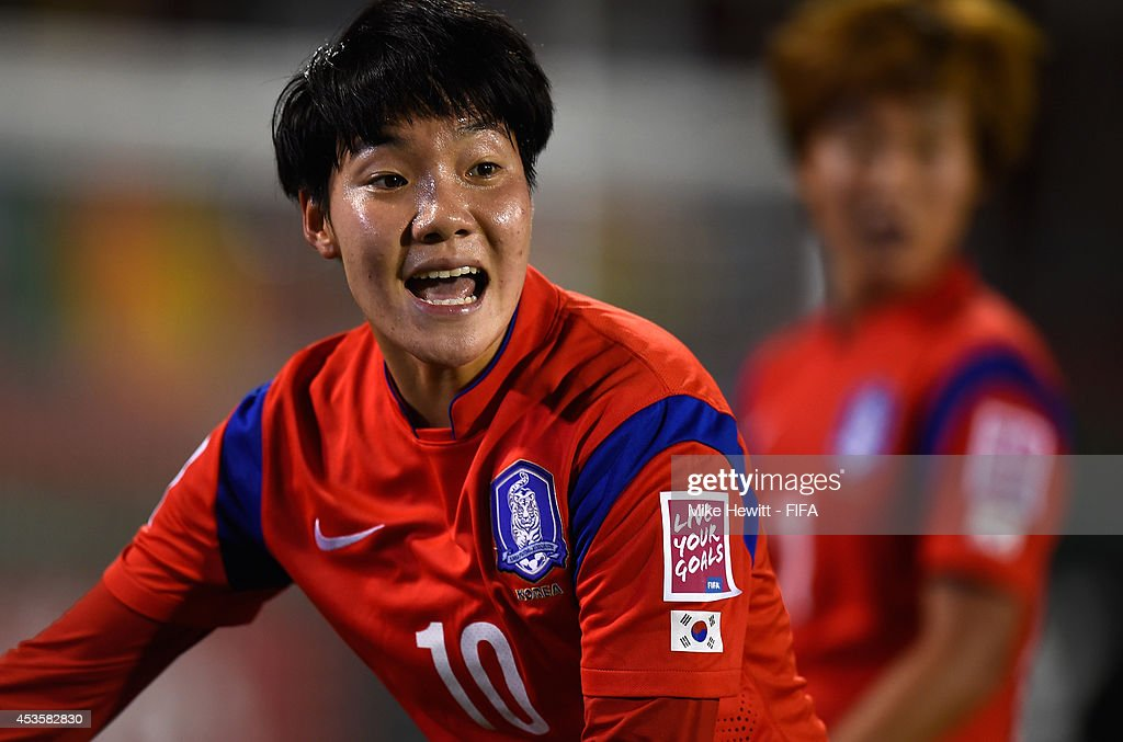 Lee Geummin of Korea Republic calls for the ball during the FIFA U-20 Women's World Cup Canada 2014 Group D match between Korea Republic and Mexico at the National Soccer Stadium on August 13, 2014 in Toronto, Canada.
