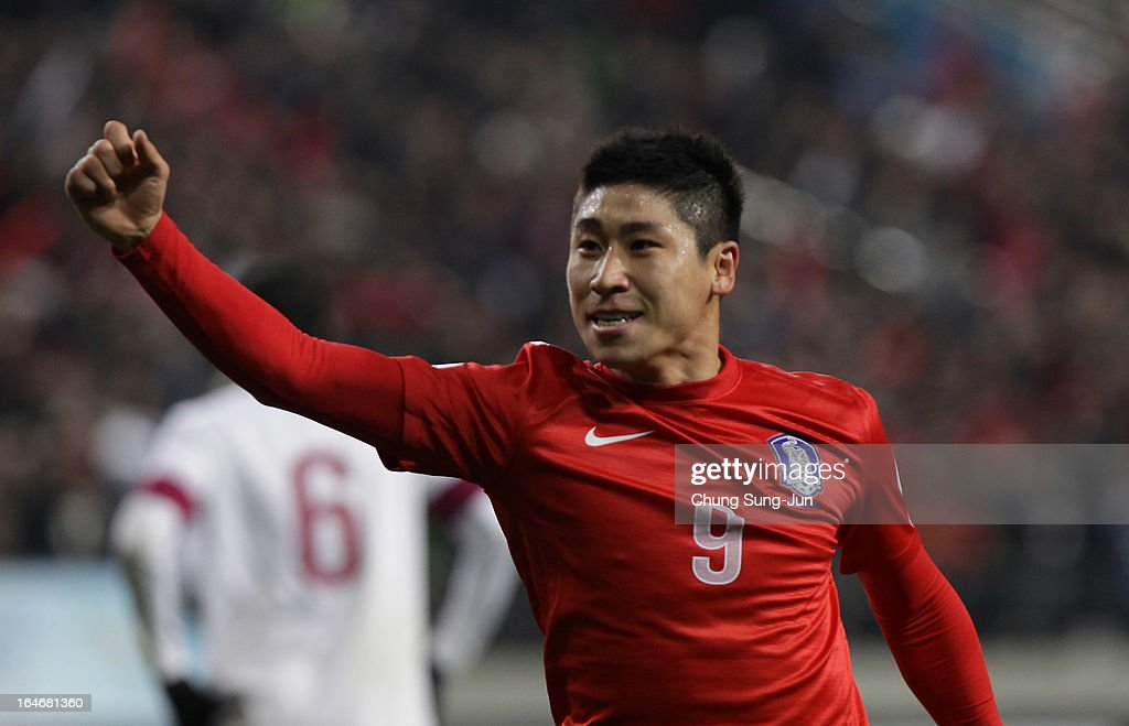 Lee Geun-Ho of South Korea celebrates scoring during the FIFA World Cup Qualifier match between South Korea and Qatar at Olympic Stadium on March 26, 2013 in Seoul, South Korea.