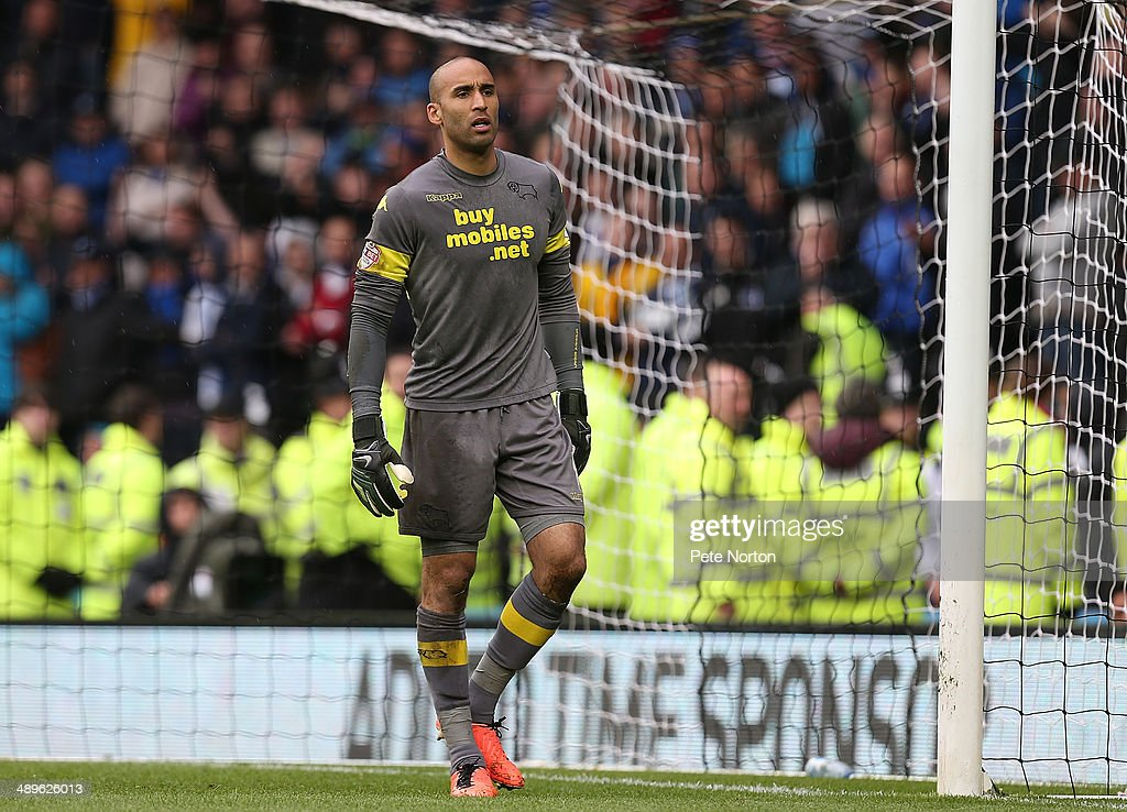Lee Grant of Derby County in action during the Sky Bet Championship Semi Final Second Leg between Derby County and Brighton & Hove Albion at iPro Stadium on May 11, 2014 in Derby, England.