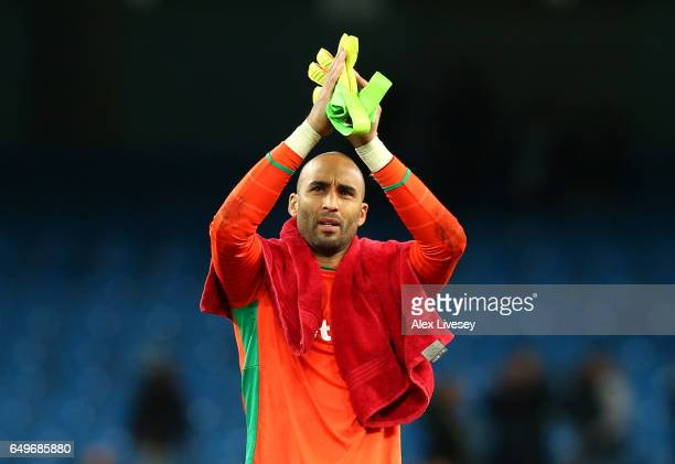 Lee Grant of Stoke City aplauds supporters during the Premier League match between Manchester City and Stoke City at Etihad Stadium on March 8 2017...