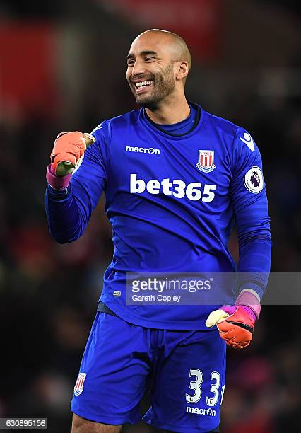 Lee Grant of Stoke City celeberates his side's first goal during the Premier League match between Stoke City and Watford at Bet365 Stadium on January...