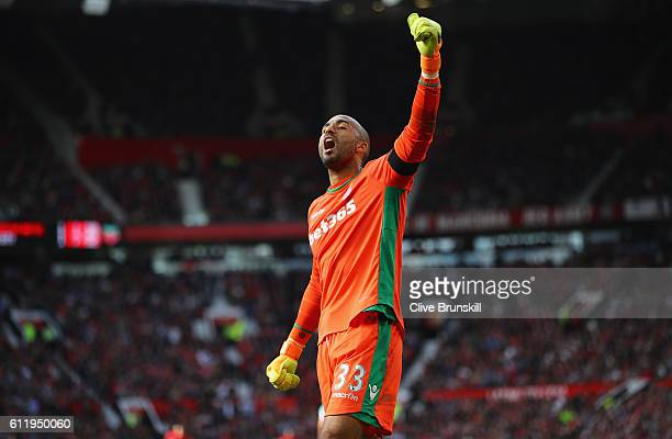 Lee Grant of Stoke City celebrates after the final whistle during the Premier League match between Manchester United and Stoke City at Old Trafford...