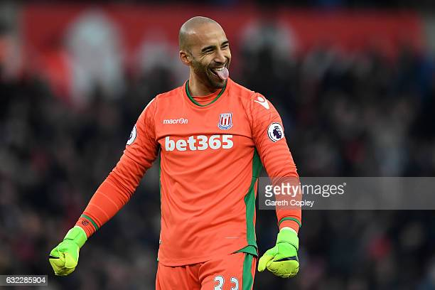 Lee Grant of Stoke City celebrates his sides goal during the Premier League match between Stoke City and Manchester United at Bet365 Stadium on...