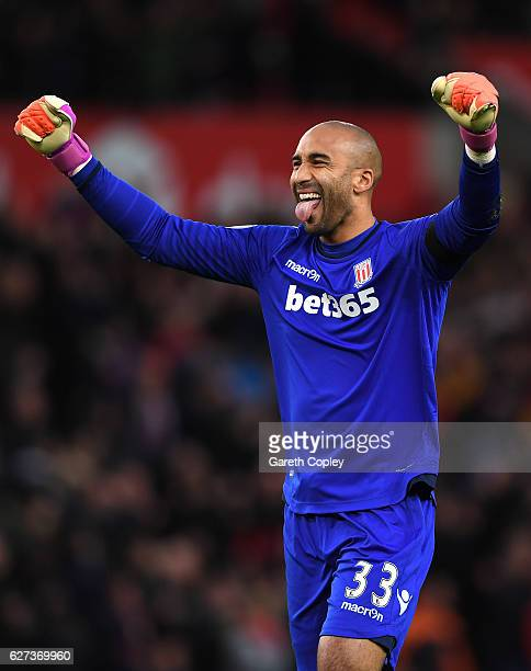 Lee Grant of Stoke City celebrates his team's second goal during the Premier League match between Stoke City and Burnley at Bet365 Stadium on...