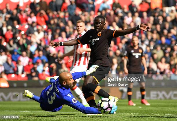 Lee Grant of Stoke City collects the ball from Oumar Niasse of Hull City during the Premier League match between Stoke City and Hull City at Bet365...