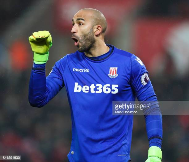 Lee Grant of Stoke City during the Premier League match between Stoke City and Crystal Palace at Bet365 Stadium on February 11 2017 in Stoke on Trent...