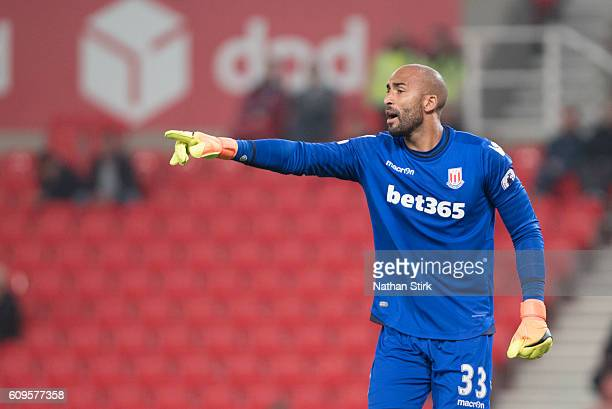 Lee Grant of Stoke City in action during the EFL Cup Third Round match between Stoke City and Hull City at the Bet365 Stadium on September 21 2016 in...