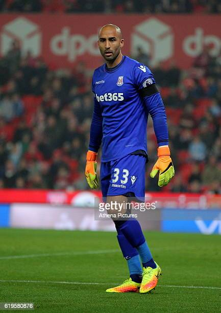 Lee Grant of Stoke City in action during the Premier League match between Stoke City and Swansea City at the Bet365 Stadium on October 31 2016 in...