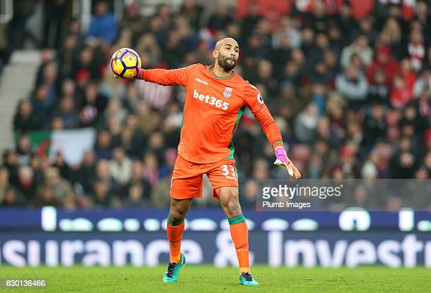 Lee Grant of Stoke City in action during the Premier League match between Stoke City and Leicester City at Bet365 Stadium on December 17 2016 in...