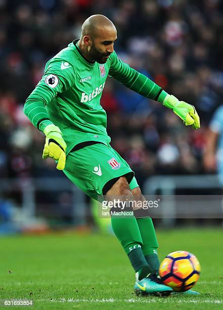 Lee Grant of Stoke City is seen during the Premier League match between Sunderland and Stoke City at Stadium of Light on January 14 2017 in...