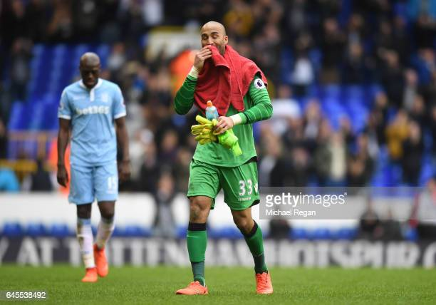 Lee Grant of Stoke City looks dejected after the Premier League match between Tottenham Hotspur and Stoke City at White Hart Lane on February 26 2017...
