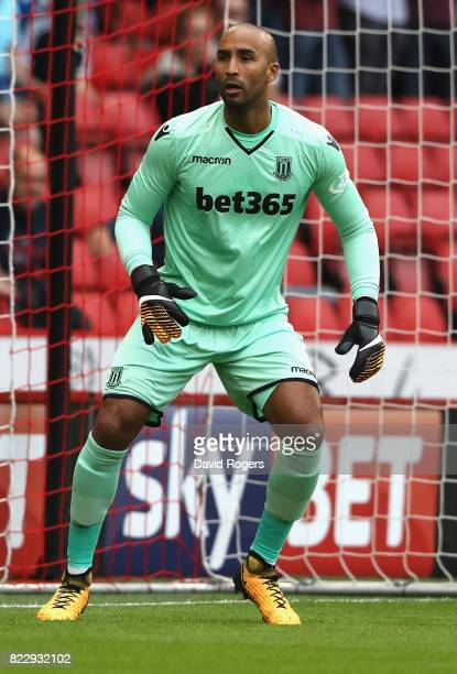 Lee Grant of Stoke City looks on during the pre season friendly match between Sheffield United and Stoke City at Bramall Lane on July 25 2017 in...