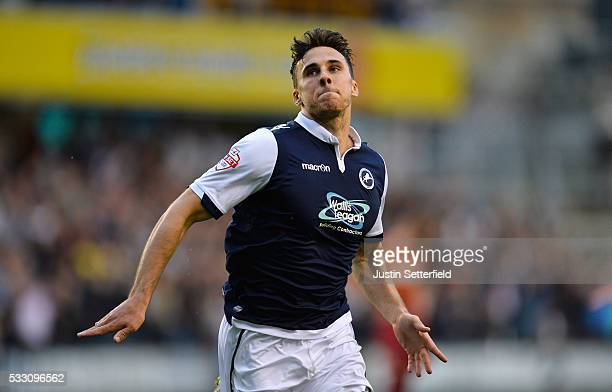 Lee Gregory of Millwall FC celebrates scoring Millwall's first goal during the Sky Bet League One Play Off Second Leg between Millwall and Bradford...