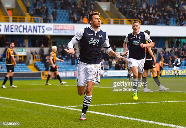 Lee Gregory of Millwall FC celebrates scoring the first goal during the Sky Bet League One match between Millwall and Port Vale on January 17 2016 in...