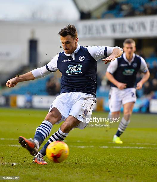 Lee Gregory of Millwall FC scores the second Millwall goal during the Sky Bet League One match between Millwall and Port Vale on January 17 2016 in...