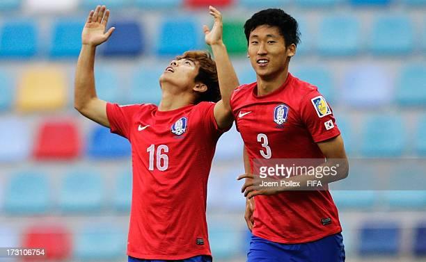 Lee Gwanghun of Korea Republic celebrates after scoring his team's second goal during the FIFA U20 World Cup Quarter Final match between Iraq and...