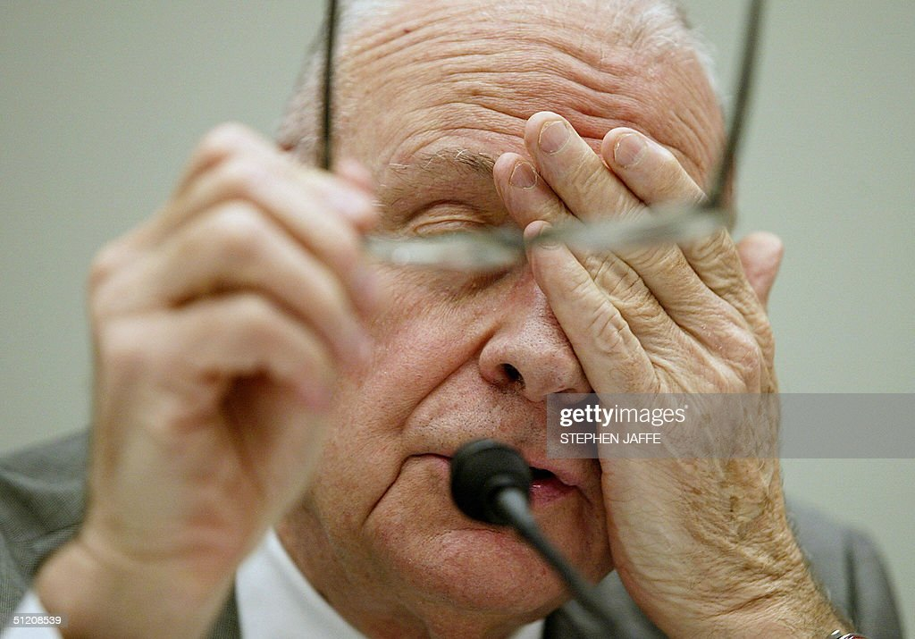 Lee Hamilton, the Vice Chairman of the 9/11 Commission testifies before the US House Committee on Financial Services 23 August 2004 on Capitol Hill in Washington,DC. The committee is conducting hearings on terrorist financing and money laundering in response to the commission's report. AFP PHOTO/Stephen JAFFE