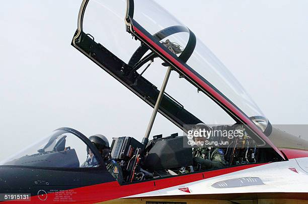 Lee HanHo South Korea Air Force's Chief of the Staff lands the plane after a testflight with the T50 Golden Eagle South Korea's first supersonic...