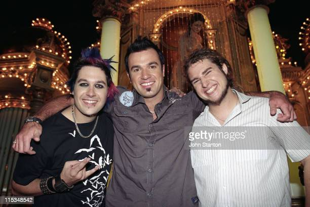Lee Harding Shannon Noll and Dan England during Idols Stars Backstage at the 'The Big Top' Luna Park at Luna Park in Sydney NSW Australia