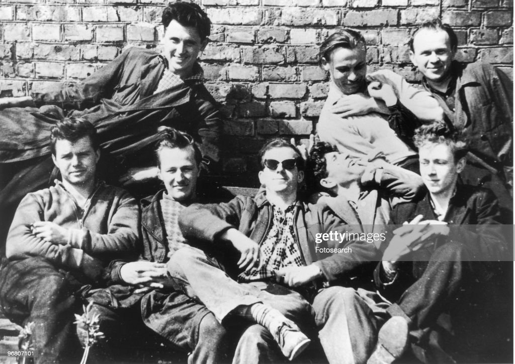 <a gi-track='captionPersonalityLinkClicked' href=/galleries/search?phrase=Lee+Harvey+Oswald&family=editorial&specificpeople=93679 ng-click='$event.stopPropagation()'>Lee Harvey Oswald</a> with friends in Minsk, Russia, circa 1950s. (Photo by Fotosearch/Getty Images).