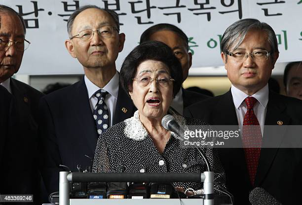 Lee Heeho the wife of late former South Korean President Kim Daejung speaks during a press conference at Gimpo Airport on August 8 2015 in Seoul...