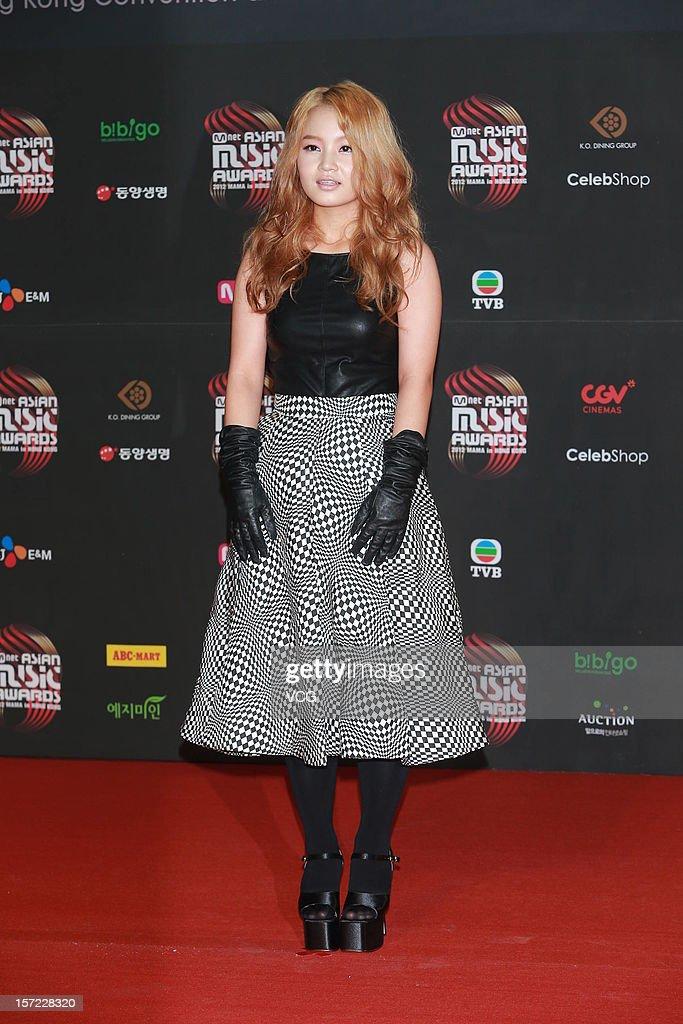 Lee Hi arrives at the red carpet of the 2012 Mnet Asian Music Awards at Hong Kong Convention & Exhibition Center on November 30, 2012 in Hong Kong, China.