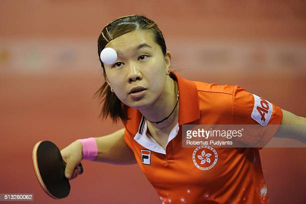 Lee Ho Ching of Hong Kong competes against Yang Haeun of Korea Republic during the 2016 World Table Tennis Championship Women's Team Division Round 5...