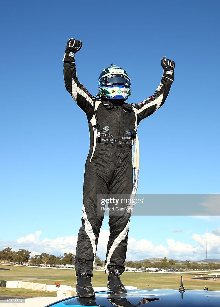 Lee Holdsworth driver of the Erebus Motorsport V8 Mercedes celebrates after winning race eight for the Winton 400 which is round three of the V8...