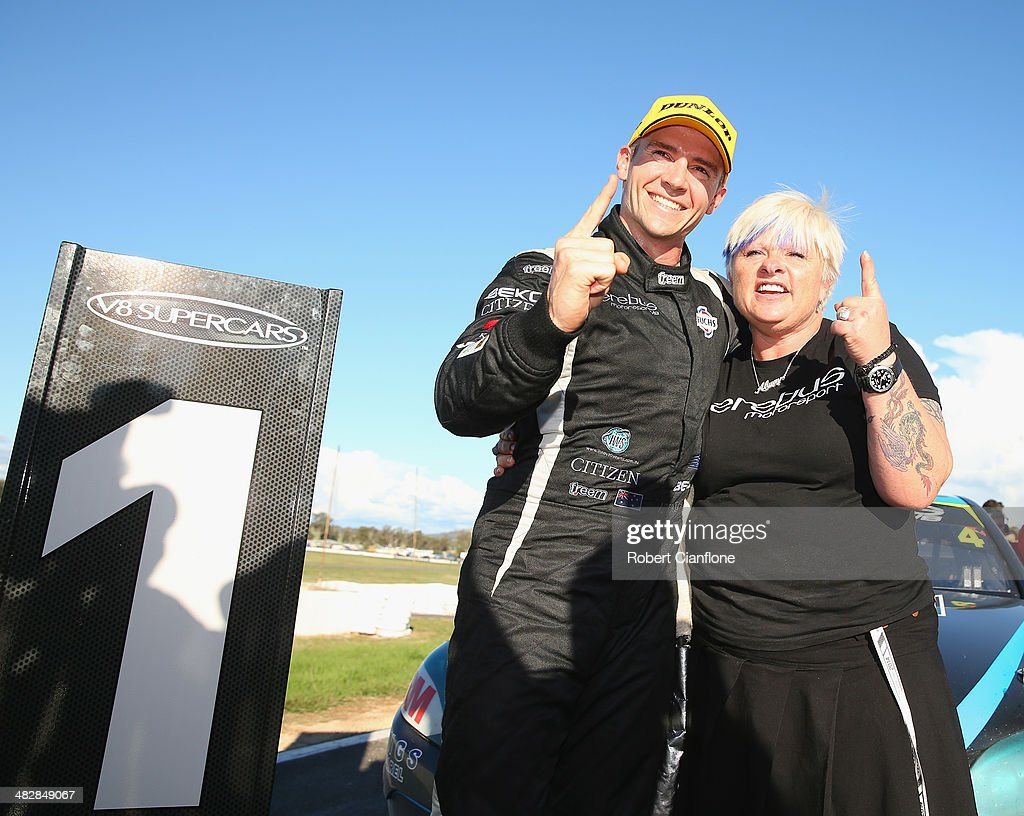Lee Holdsworth driver of the Erebus Motorsport V8 Mercedes celebrates with team owner Betty Klimenko after winning race eight for the Winton 400...