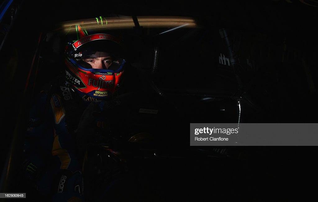 Lee Holdsworth driver of the #4 Irwin Racing Mercedes sits in his car prior to the warm up session for race one of the Clipsal 500, which is round one of the V8 Supercar Championship Series, at the Adelaide Street Circuit on March 2, 2013 in Adelaide, Australia.