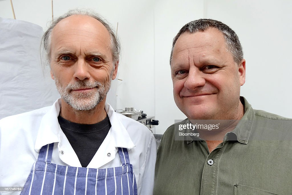 Lee Hollingworth, owner and baker of Story Deli, left, and Jeffrey Merrihue, founder of Chowzter, stand for a portrait at the restaurant's temporary venue in London, U.K., on Wednesday, April 24, 2013. The restaurant's pizza is the most delicious food item in the world, beating dishes from Italy, according to voters on the Chowzter Fast Feast awards. Photographer: Richard Vines/Bloomberg via Getty Images