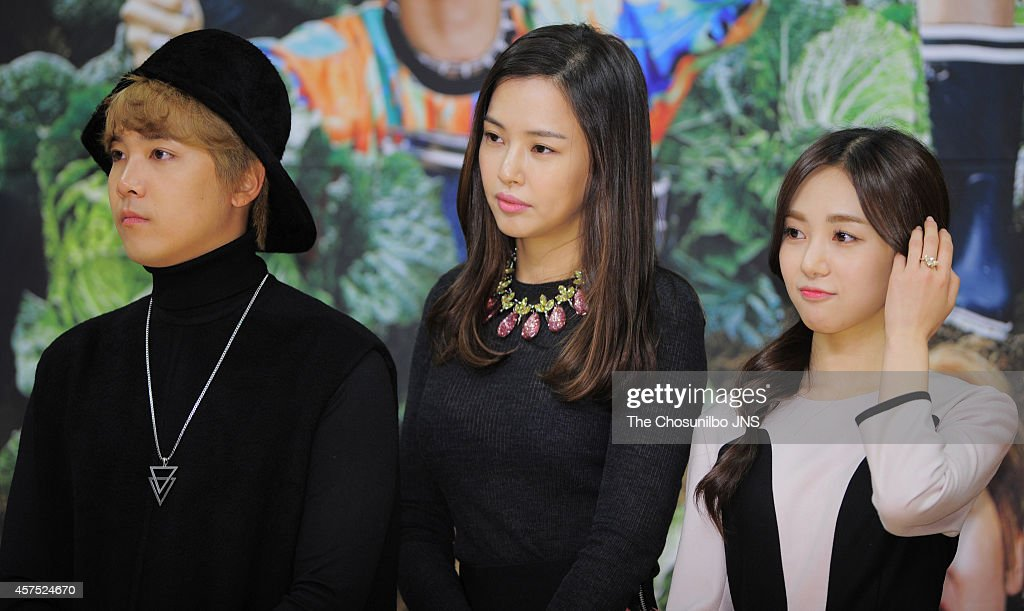 Lee HongGi of FTIsland Lee HaNui and MinAh of AOA attend the SBS 'Modern Farmer' press conference at SBS Broadcasting Center on October 14 2014 in...
