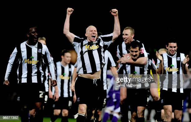 Lee Hughes of Notts County celebrates victory during the Coca Cola League 2 match between Notts County and Rochdale at the Meadow Lane Stadium on...