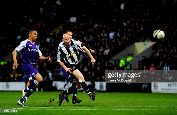 Lee Hughes scores a goal for Notts County during the Coca Cola League 2 match between Notts County and Rochdale at the Meadow Lane Stadium on April...