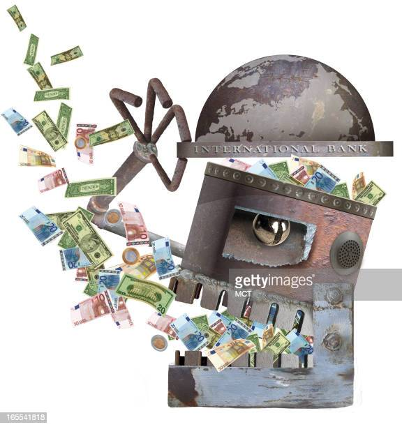 Lee Hulteng color illustration of a rusty international bank tipping its hat while swallowing currency