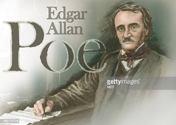Lee Hulteng color illustration of author Edgar Allan Poe