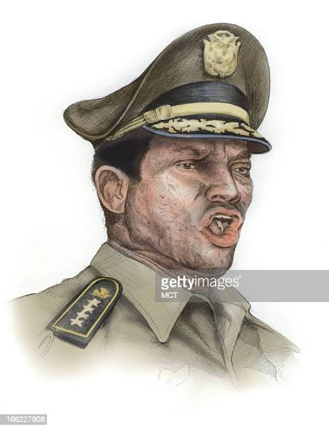 Lee Hulteng color illustration of former Panamanian dictator Manuel Noriega