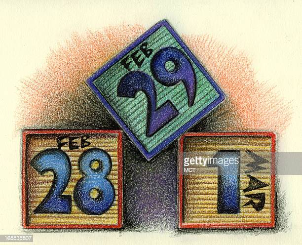Lee Hulteng color illustration of leap year building blocks