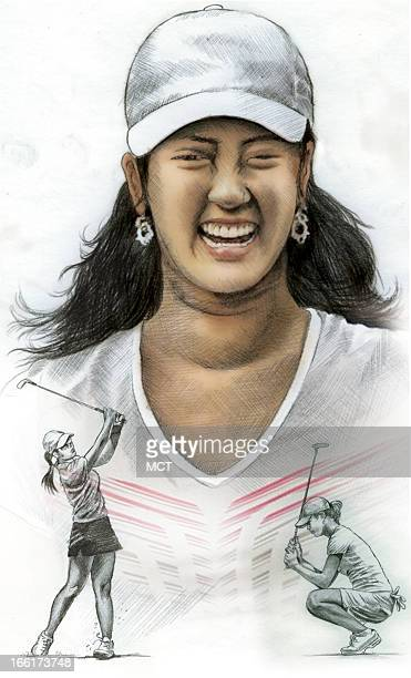 Lee Hulteng color illustration of US golfer Michelle Wie Wie debuts in 2009 as a rookie on the LPGA Tour